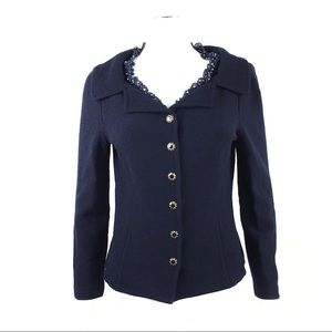 St. John Blue Knit Cardigan Sweater Ruffle Collar